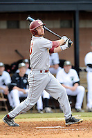 Second baseman Chad Smith (13) of the Winthrop University Eagles bats in a game against the University of South Carolina Upstate Spartans on Wednesday, March 4, 2015, at Cleveland S. Harley Park in Spartanburg, South Carolina. Upstate won, 12-3. (Tom Priddy/Four Seam Images)