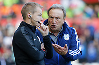 Cardiff manager Neil Warnock protests to the fourth official during the Sky Bet Championship match between Swansea City and Cardiff City at the Liberty Stadium, Swansea, Wales, UK. Sunday 27 October 2019