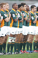 The Baby Boks sing their anthem before the U19 Final clash against New Zealand at Ravenhill, Belfast.