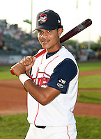 Pedro Vasquez of the Lowell Spinners, Class-A affiliate of the Boston Red Sox, during the New York-Penn League season.  Photo by:  Mike Janes/Four Seam Images