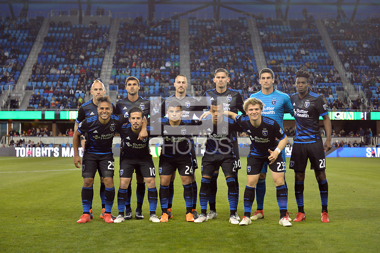 San Jose, CA - Saturday March 24, 2018: San Jose Earthquakes Starting Eleven during an international friendly between the San Jose Earthquakes and Club Leon FC at Avaya Stadium.