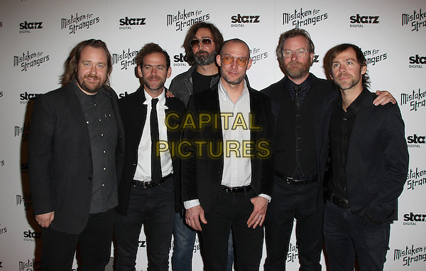 25 March 2014 - Los Angeles, California - Tom Berninger, Bryce Dessner, Bryan Devendorf, Scott Devendorf, Matt Berninger, Aaron Dessner. Los Angeles Screening Of &quot;Mistaken For Strangers&quot; Los Angeles Gala Dinner Held at The Shrine Auditorium. <br /> CAP/ADM/FS<br /> &copy;Faye Sadou/AdMedia/Capital Pictures