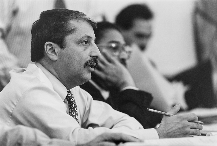 Rep. Sam Gejdenson, D-Conn. with Former Rep. Lacy Clay, D-Mo., during House Admin Committee's  Council on Foreign Relations mark up. Nov. 11, 1993. (Photo by Laura Patterson/CQ Roll Call)
