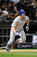 Toronto Blue Jays first baseman Adam Lind (26) at bat during a game against the Chicago White Sox on August 15, 2014 at U.S. Cellular Field in Chicago, Illinois.  Chicago defeated Toronto 11-5.  (Mike Janes/Four Seam Images)