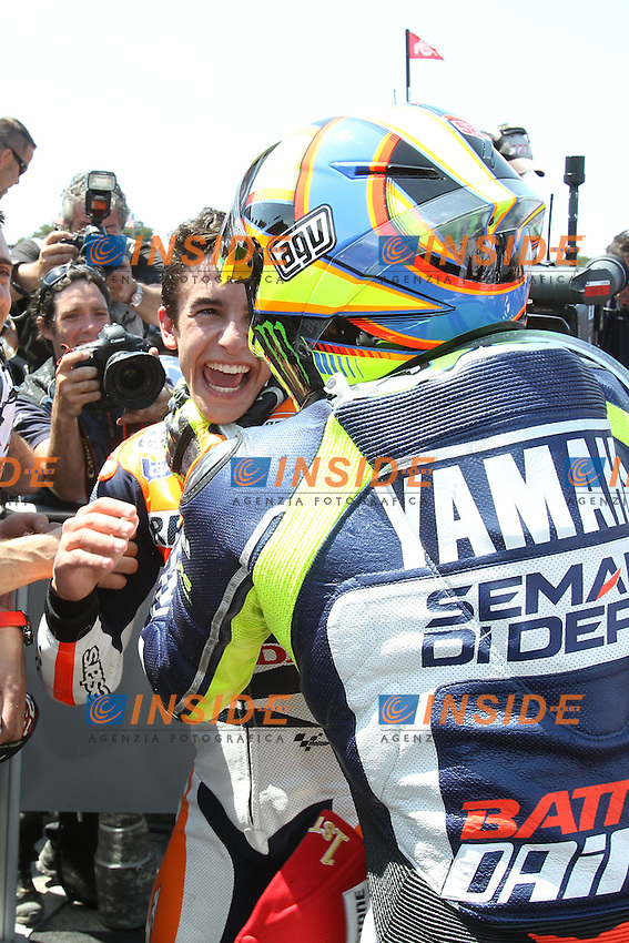 Marc Marquez - Honda Repsol team and Valentino Rossi - Yamaha factory team<br /> esultanza<br /> 21-07-2013 Laguna Seca (USA)<br /> Motogp world championship<br /> Photo Semedia/Insidefoto<br /> ITALY ONLY