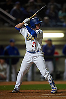 Rancho Cucamonga Quakes second baseman Omar Estevez (21) at bat during a California League game against the Lake Elsinore Storm at LoanMart Field on May 19, 2018 in Rancho Cucamonga, California. Lake Elsinore defeated Rancho Cucamonga 10-7. (Zachary Lucy/Four Seam Images)