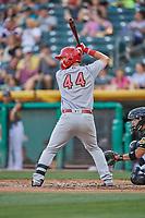 Rangel Ravelo (44) of the Memphis Redbirds bats against the Salt Lake Bees at Smith's Ballpark on July 24, 2018 in Salt Lake City, Utah. Memphis defeated Salt Lake 14-4. (Stephen Smith/Four Seam Images)