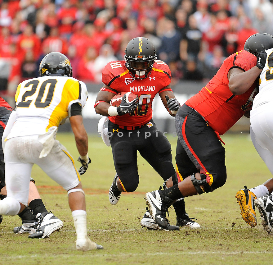 DJ ADAMS, of the Maryland Terrapins, in action during Maryland's game against the Towson Tigers on October 1, 2011 at Byrd Stadium in College Park, MD. Maryland beat Towson 28-3.