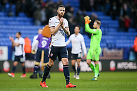 Bolton Wanderers' Mark Beevers applauds the home fans at the end of the game<br /> <br /> Photographer Andrew Kearns/CameraSport<br /> <br /> The EFL Sky Bet Championship - Bolton Wanderers v Fulham - Saturday 10th February 2018 - Macron Stadium - Bolton<br /> <br /> World Copyright &copy; 2018 CameraSport. All rights reserved. 43 Linden Ave. Countesthorpe. Leicester. England. LE8 5PG - Tel: +44 (0) 116 277 4147 - admin@camerasport.com - www.camerasport.com