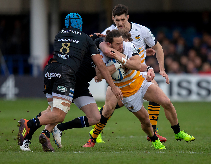 Wasps' Michele Campagnaro in action during todays match<br /> <br /> Photographer Bob Bradford/CameraSport<br /> <br /> European Rugby Heineken Champions Cup Pool 1 - Bath Rugby v Wasps - Saturday 12th January 2019 - The Recreation Ground - Bath<br /> <br /> World Copyright © 2019 CameraSport. All rights reserved. 43 Linden Ave. Countesthorpe. Leicester. England. LE8 5PG - Tel: +44 (0) 116 277 4147 - admin@camerasport.com - www.camerasport.com