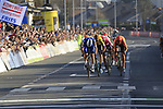 Zdenek Stybar (CZE) Deceuninck-Quick Step attacks Greg Van Avermaet (BEL) CCC Team, Alberto Bettiol (ITA) EF Education First and Wout Van Aert (BEL) Team Jumbo-Visma as they race towards the finish line at the end of the 2019 E3 Harelbeke Binck Bank Classic 2019 running 203.9km from Harelbeke to Harelbeke, Belgium. 29th March 2019.<br /> Picture: Eoin Clarke | Cyclefile<br /> <br /> All photos usage must carry mandatory copyright credit (© Cyclefile | Eoin Clarke)