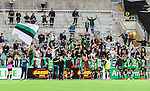 Stockholm 2014-06-18 Fotboll Superettan Hammarby IF - GAIS :  <br /> GAIS supportrar jublar med GAIS spelare efter matchen<br /> (Foto: Kenta J&ouml;nsson) Nyckelord:  Superettan Tele2 Arena Hammarby HIF Bajen GAIS jubel gl&auml;dje lycka glad happy supporter fans publik supporters
