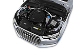 Car stock 2017 Audi A4 Premium 4 Door Sedan engine high angle detail view