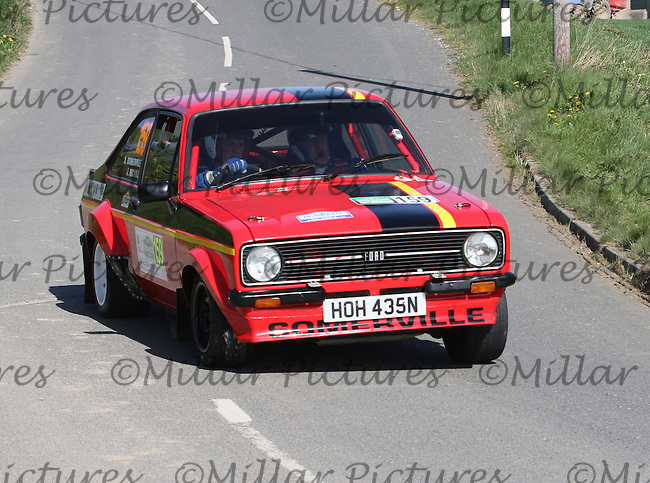 Richard Sommerville - John Nicholl in a Ford Escort Mk 2 near Junction 4 on Special Stage 1 Loughries Village of the Discover Northern Ireland Circuit of Ireland Rally which was a constituent round of  the FIA European Rally Championship, the FIA Junior European Rally Championship, the Clonakilty Irish Tarmac Rally Championship, and the MSA ANICC Northern Ireland Stage Rally Championships which took place on 18.4.14 and 19.4.14 and was based in Belfast.