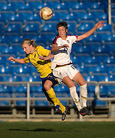 USWNT forward (15) Megan Rapinoe goes up for a header against Swedish defender (4) Anna Paulson during the Algarve Cup final at the Estadio Algarve in Faro, Portual.  The USWNT lost to Sweden on penalty kicks after it was tied in regulation at 1-1.