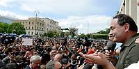 Roma, 13 Maggio 2019<br /> Mimmo Lucano parla dal megafono al presidio antifascista.<br /> Migliaia di studentesse e studenti antifascisti presidiano la città Universitaria per accogliere Mimmo Lucano, il sindaco sospeso di Riace contro le minacce di Forza Nuova
