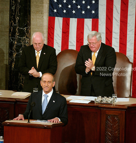 Washington, D.C. - May 24, 2006 -- Prime Minister Ehud Olmert of Israel speaks to a Joint Session of the United States Congress at the Capitol in Washington, D.C. on May 24, 2006.  .Credit: Ron Sachs / CNP