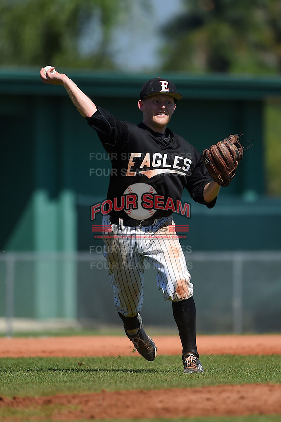 Edgewood Eagles Brodie Engel (3) during the second game of a doubleheader against the Plymouth State Panthers on March 17, 2015 at Terry Park in Fort Myers, Florida.  Edgewood defeated Plymouth State 9-2.  (Mike Janes/Four Seam Images)