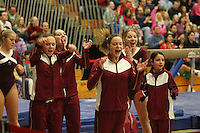 17 February 2006: Kelly Fee, Lauren Elmore, Stephanie Gentry, and Nicole Ourada during Stanford's win over the University of Arizona at Burnham Pavilion in Stanford, CA.