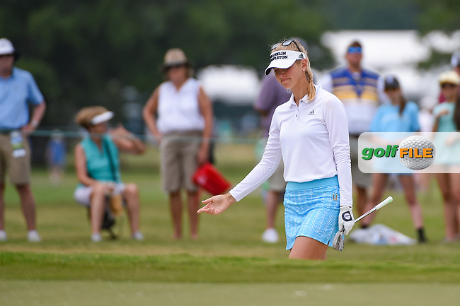 Jessica Korda (USA) reacts to her hit from the trap on 9 during round 2 of the 2019 US Women's Open, Charleston Country Club, Charleston, South Carolina,  USA. 5/31/2019.<br /> Picture: Golffile | Ken Murray<br /> <br /> All photo usage must carry mandatory copyright credit (© Golffile | Ken Murray)