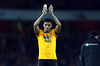 Raul Jimenez of Wolves applauds the Wolves fans after Arsenal vs Wolverhampton Wanderers, Premier League Football at the Emirates Stadium on 11th November 2018