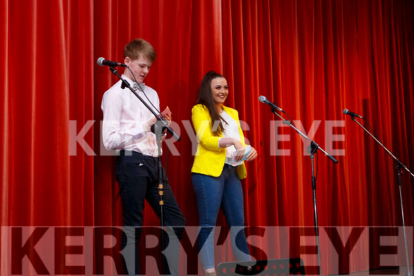 Curtains ready as the MC's are about to get the show on the road at the Castleisland Presentation Schools Talent show in the school hall last Thursday.