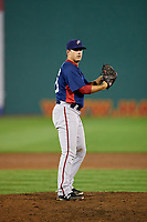 Potomac Nationals starting pitcher Ben Braymer (40) gets ready to deliver a pitch during the second game of a doubleheader against the Salem Red Sox on June 11, 2018 at Haley Toyota Field in Salem, Virginia.  Potomac defeated Salem 4-0.  (Mike Janes/Four Seam Images)