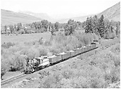 D&amp;RGW #268 in &quot;Bumblebee&quot; colors leading freight near Jack's Cabin.<br /> D&amp;RGW  Jack's Cabin (near), CO  Taken by Richardson, Robert W. - 7/3/1952