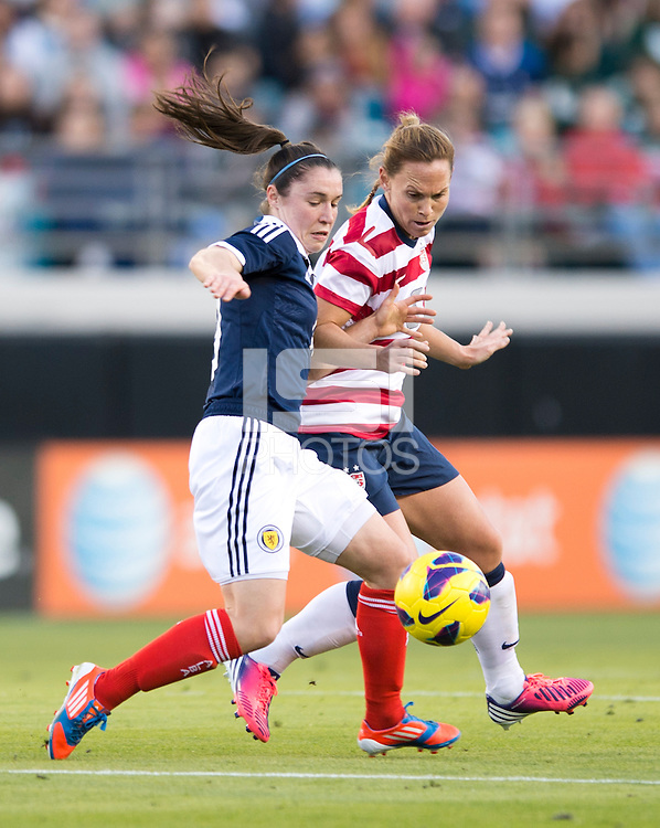 Christie Rampone, Jane Ross.  The USWNT defeated Scotland, 4-1, during a friendly at EverBank Field in Jacksonville, Florida.