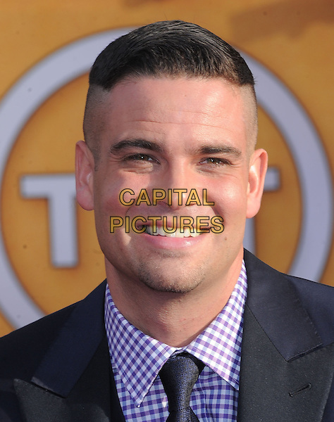 Mark Salling.Arrivals at the 19th Annual Screen Actors Guild Awards at the Shrine Auditorium in Los Angeles, California, USA..27th January 2013.SAG SAGs headshot portrait black white purple check gingham shirt.CAP/DVS.©DVS/Capital Pictures.