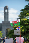 A Welsh and British Flag made by schoolchilden for the Prince Charles,  Prince of Wales and Camilla, Dutchess of Cornwall visit to Victoria Park in Swansea today to help celebrate the 50th anniversary of Swanseas achieving City status.