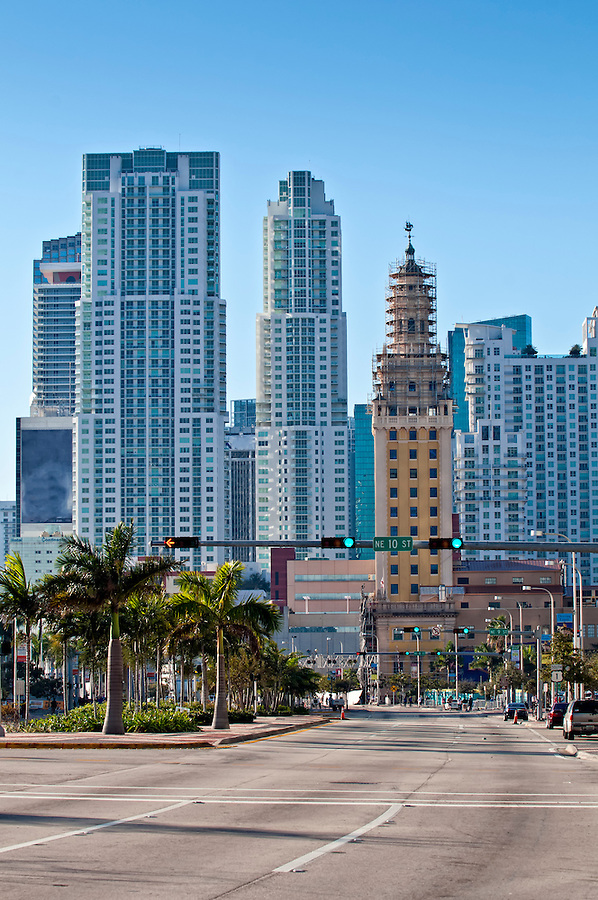 View of Miami, Biscayne Avenue and Downtown Skyscrapers.