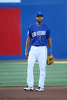 Amed Rosario (1) of the Las Vegas 51s at shortstop during a game against the Sacramento River Cats at Cashman Field on June 15, 2017 in Las Vegas, Nevada. Las Vegas defeated Sacramento, 12-4. (Larry Goren/Four Seam Images)