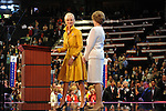 First Lady Laura Bush looks on as wife of Republican presidential nominee Cindy McCain takes to the podium on day one of the Republican National Convention at the XCel Center in Saint Paul, Minnesota on September 1, 2008. Convention activities have been scaled back considerably on day one due to Hurricane Gustav.