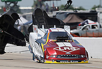 Apr. 28, 2013; Baytown, TX, USA: NHRA funny car driver Tim Wilkerson during the Spring Nationals at Royal Purple Raceway. Mandatory Credit: Mark J. Rebilas-