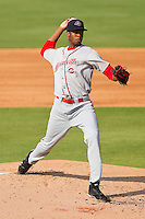 Starting pitcher Miguel Celestino #37 of the Greenville Drive in action against the Kannapolis Intimidators at Fieldcrest Cannon Stadium on May 8, 2011 in Kannapolis, North Carolina.   Photo by Brian Westerholt / Four Seam Images