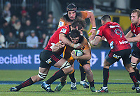 Crusaders' Kieran Read tackles Jaguares' Pablo Matera during the 2019 Super Rugby final between the Crusaders and Jaguares at Orangetheory Stadium in Christchurch, New Zealand on Saturday, 6 July 2019. Photo: Dave Lintott / lintottphoto.co.nz