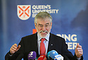 Former Sinn Fein leader Gerry Adams, speaks at Queen's University Belfast, Tuesday, April 10th, 2018. Tuesday marks 20 years since politicians from Northern Ireland and the British and Irish governments agreed what became known as the Good Friday Agreement. It was the culmination of a peace process which sought to end 30 years of the Troubles. Two decades on, the Northern Ireland Assembly is suspended in a bitter atmosphere between the two main parties. Photo/Paul McErlane