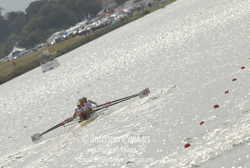Eton, GREAT BRITAIN,  GBR LM4-, Bow, Matt BEECHY, Daniel HARTE, Paul MATTICK, James CLARKE ,  at the start 2006 World Rowing Championships, 23/08/2006.  Photo  Peter Spurrier, © Intersport Images,  Tel +44 [0] 7973 819 551,  email images@intersport-images.com , Rowing Courses, Dorney Lake, Eton. ENGLAND