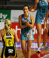Thunderbirds goal attack Natalie Medhurst encourages her team during the ANZ Netball Championship match between the Waikato Bay of Plenty Magic and Adelaide Thunderbirds, Mystery Creek Events Centre, Hamilton, New Zealand on Sunday 19 July 2009. Photo: Dave Lintott / lintottphoto.co.nz