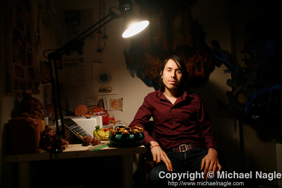 BROOKLYN - NOVEMBER 20, 2006: Artist Ted Mineo poses for a portrait in his studio on Montrose Avenue on November 20th, 2006 in Brooklyn.  (Photo by Michael Nagle)