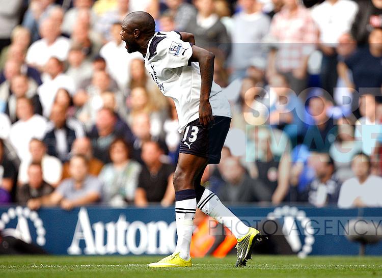 William Gallas of Tottenham Hotspur picks up an injury
