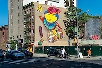 New Yor, NY 6 September 2915 - Street mural by graffiti artists Os Gemeos