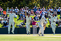 England get the wicket of Jeet Raval of the Black Caps during Day 2 of the Second International Cricket Test match, New Zealand V England, Hagley Oval, Christchurch, New Zealand, 31th March 2018.Copyright photo: John Davidson / www.photosport.nz