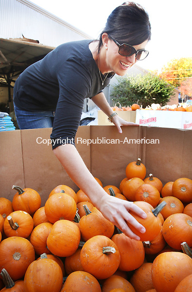 MIDDLEBURY CT. 26 October 2015-102715SV10-Cristin Smutney of Watertown stopped by Vaszaukas Farm to pick up 25 pumpkins in Middlebury Tuesday. Smutney is a room mom for a 5th grade class at Judson School in Watertown. The students were going to decorate the pumpkins for Halloween. <br /> Steven Valenti Republican-American