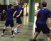 Chad Langlais (Michigan - 7), Carl Hagelin (Michigan - 12), Matt Rust (Michigan - 19) - The University of Michigan Wolverines warmed up prior to the 2011 Frozen Four final on Saturday, April 9, 2011, at the Xcel Energy Center in St. Paul, Minnesota.