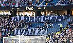 Solna 2014-05-05 Fotboll Allsvenskan AIK - Helsingborgs IF :  <br /> AIK supportrar med banderoller under matchminut 27 som en hyllning till fd AIK m&aring;lvakten Ivan Turina<br /> (Foto: Kenta J&ouml;nsson) Nyckelord:  Friends Arena AIK Gnaget HeIF HIF Helsingborg supporter fans publik supporters