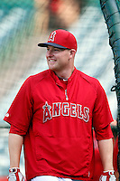 Mark Trumbo #44 of the Los Angeles Angels before a game against the Chicago White Sox at Angel Stadium on May 17, 2013 in Anaheim, California. (Larry Goren/Four Seam Images)