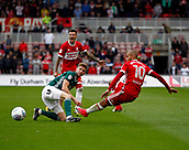 30th September 2017, Riverside Stadium, Middlesbrough, England; EFL Championship football, Middlesbrough versus Brentford; Martin Braithwaite of Middlesbrough is fouled by Chris Mepham in the 2-2 draw