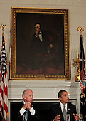 Washington, DC - June 8, 2009 -- United States President Barack Obama, right, speaks to the Press before a meeting with his Cabinet while Vice President Joseph Biden, left, listens in the State Dining Room of the White House, Washington, DC, June 8, 2009..Credit: Aude Guerrucci - Pool via CNP